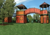 Inspired by the Mediterranean-designed main house, this tree house reaching over 51 feet is a life-sized replica for children to explore and use their imagination. Its bright-colored décor will catch the eye of any explorer. This expansive adventure land provides obstacles including multiple playhouses, bridges and numerous hiding spots. From almost every floor of this playhouse, the majestic view of the land below will allow children the dream of controlling their land. Children can escape through the multiple exits including a fire pole, a full-size rock wall or through the slide, stairs and bridges. Offered at $127,150.